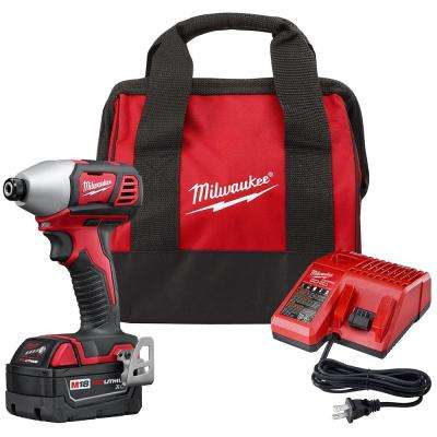 M18 18-Volt Lithium-Ion Cordless 1/4 in. Hex Impact Driver Kit with One 3.0Ah Battery, Charger and Bag