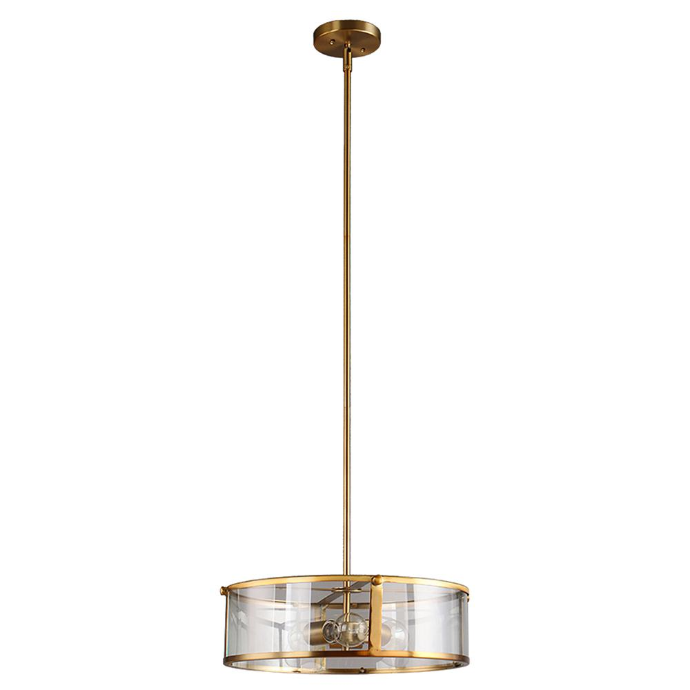 DSI Brooklyn Collection 3-Light Antique Brass Pendant with Clear Glass Shade