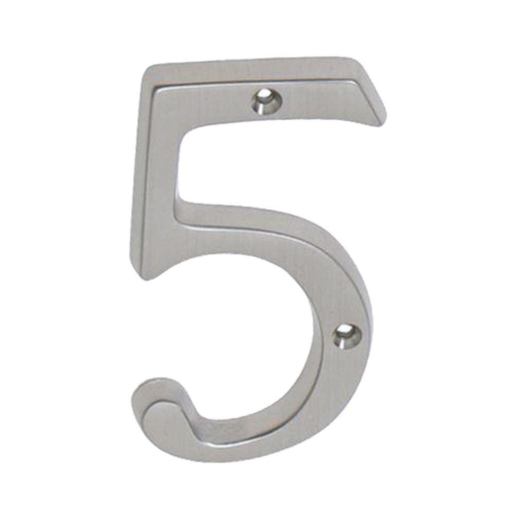 Schlage 4 in satin nickel classic house number 5 sc2 3056 for Classic house numbers