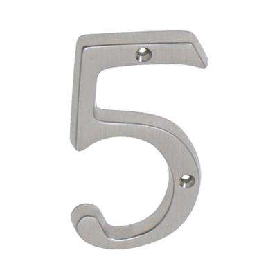 4 in. Satin Nickel Classic House Number 5