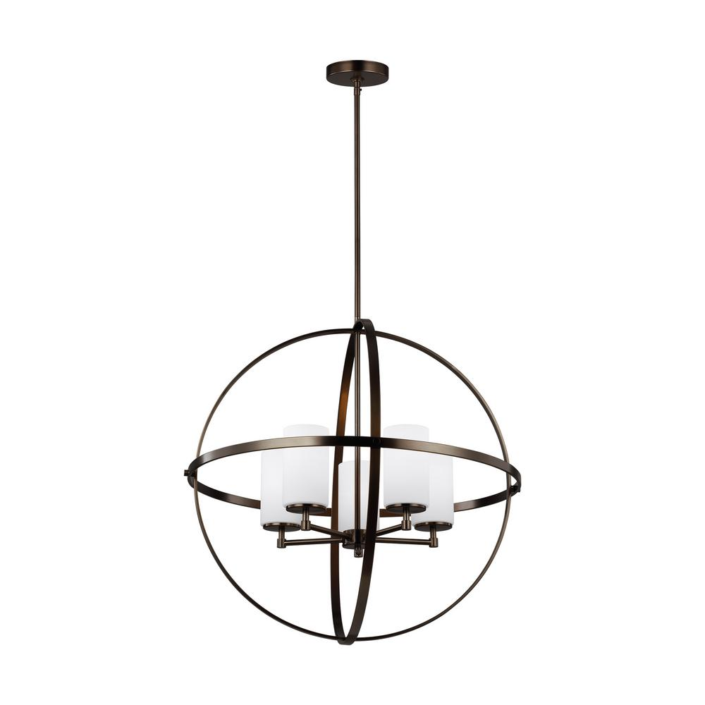 Sea Gull Lighting Alturas 5-Light Brushed Oil Rubbed Bronze Orb Chandelier with LED Bulbs