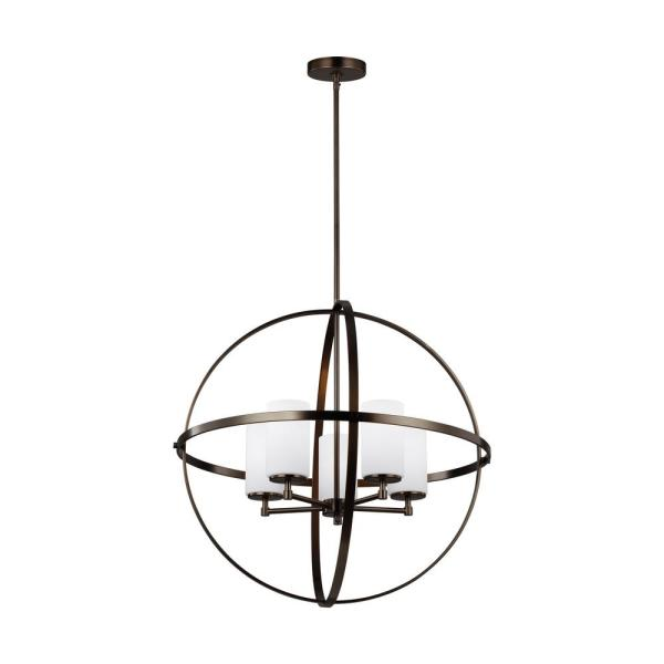 Alturas 5-Light Brushed Oil Rubbed Bronze Orb Chandelier with LED Bulbs