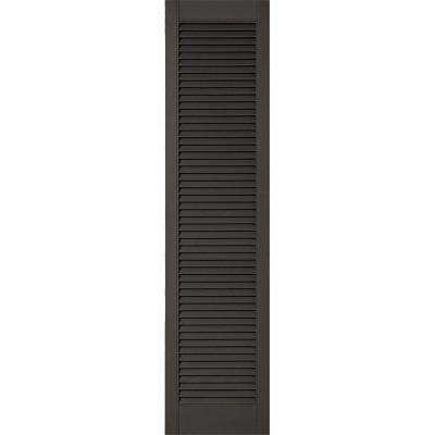 18 in. x 50 in. Lifetime Vinyl Custom Straight Top All Open Louvered Shutters Pair Musket Brown