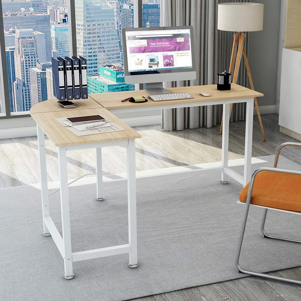Oak L-Shaped Home Office Corner Computer Desk