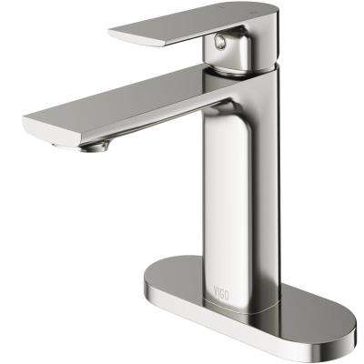Davidson Single Hole Single-Handle Bathroom Faucet with Deck Plate in Brushed Nickel