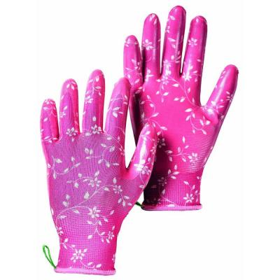 Garden Dip Size 7 Small Form-Fitting Nitrile Dipped Gloves in Fuschia