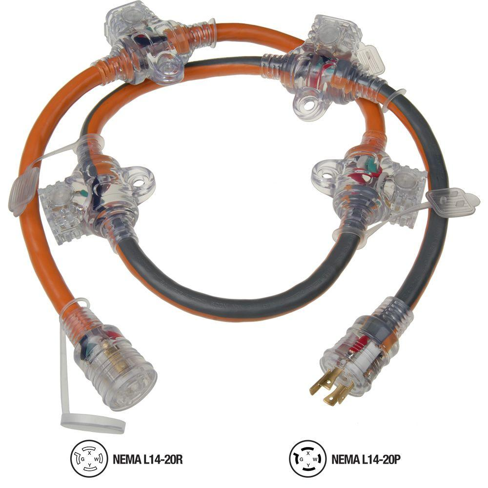Ridgid 5 Ft 12 4 In Line Multi Outlet Generator Cord 615 16456hdr Nema L14 20 Plug Wiring Diagram
