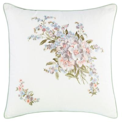 Harper Green Floral Cotton 18 in. x 18 in. Throw Pillow