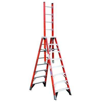 8 ft. Fiberglass Extension Trestle Step Ladder with 300 lb. Load Capacity Type IA Duty Rating