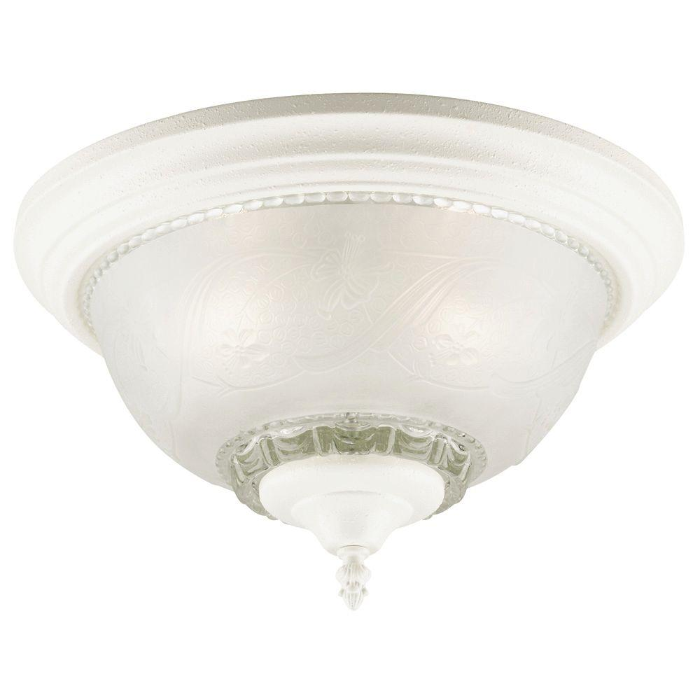 Westinghouse 3-Light Textured White Interior Ceiling Flushmount with Embossed Floral and Leaf Design Glass
