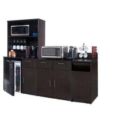 Coffee Kitchen Espresso Sideboard with Lunch Break Room Functionality with Assembled Commercial Grade (4-Piece)