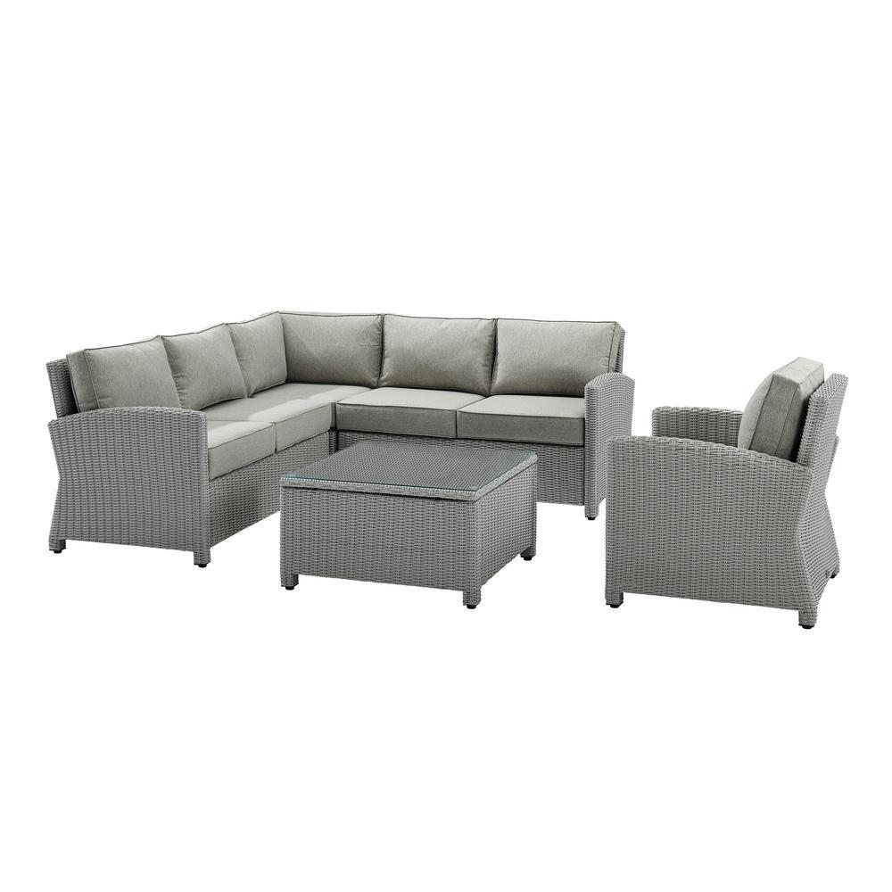 Bradenton Gray 5-Piece Wicker Patio Conversation Sectional Seating Set with Gray Cushions