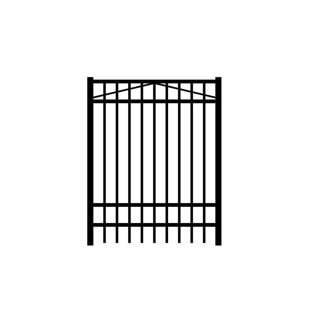 Jefferson 4 ft. W x 6 ft. H Black Aluminum 4-Rail Fence Gate