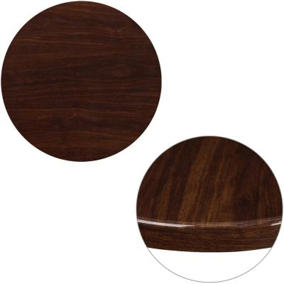 24 in. Round High-Gloss Walnut Resin Table Top with 2 in. Thick Drop-Lip