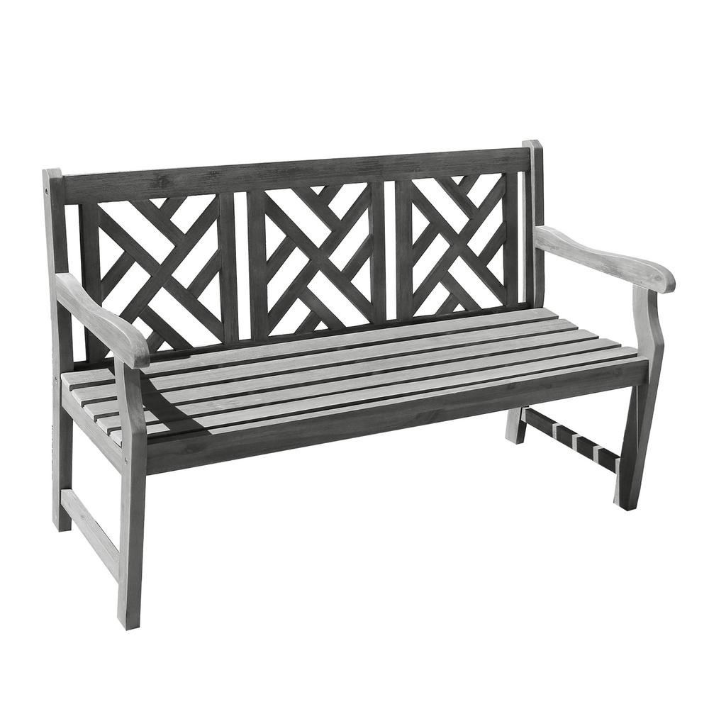 Vifah Renaissance Hand-Scraped Acacia Herringbone-Back Patio Bench