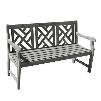 Renaissance Hand-Scraped Acacia Herringbone-Back Patio Bench