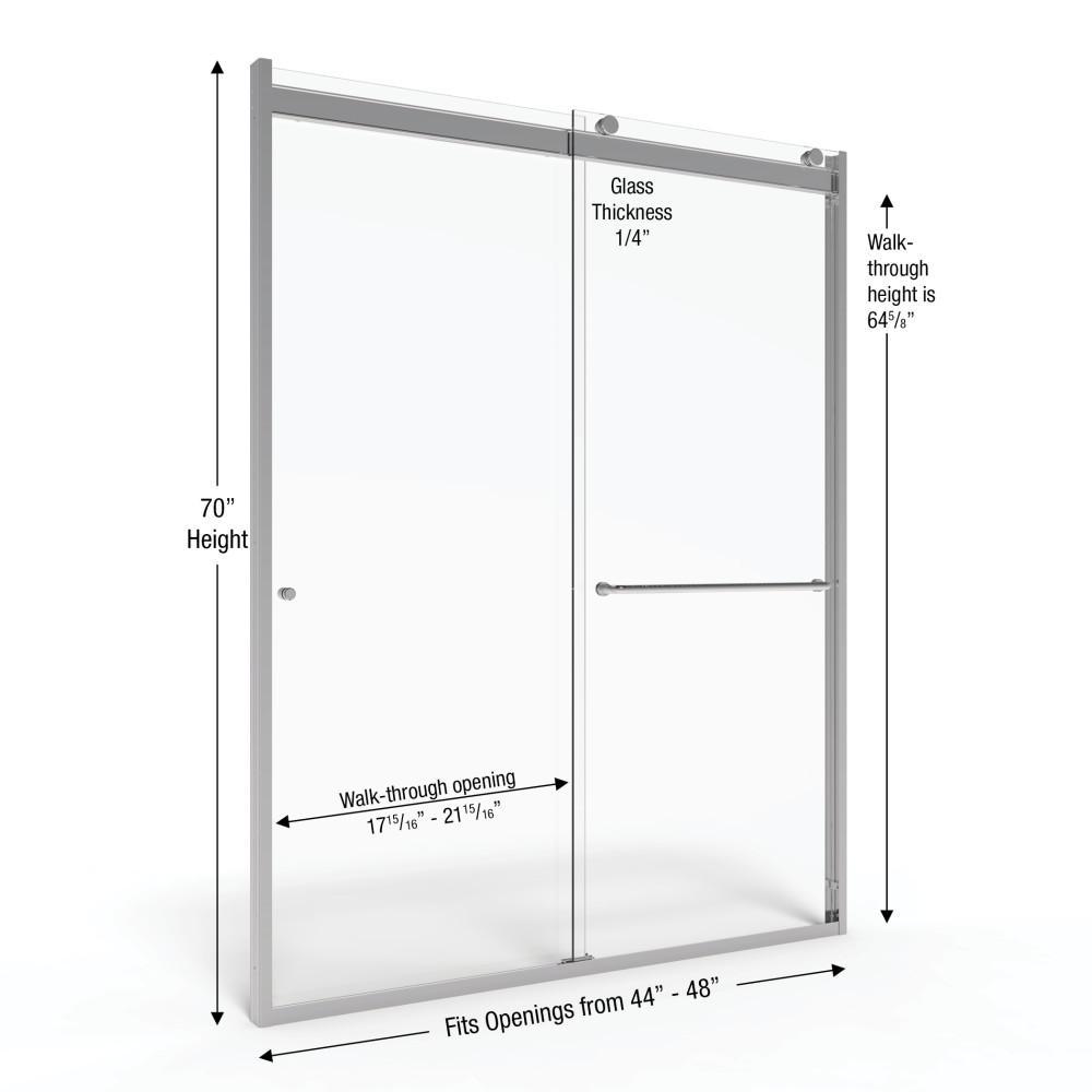 Basco Rotolo 48 In X 70 In Semi Frameless Sliding Shower Door In Chrome With Handle Rtla05b4870xpsv The Home Depot