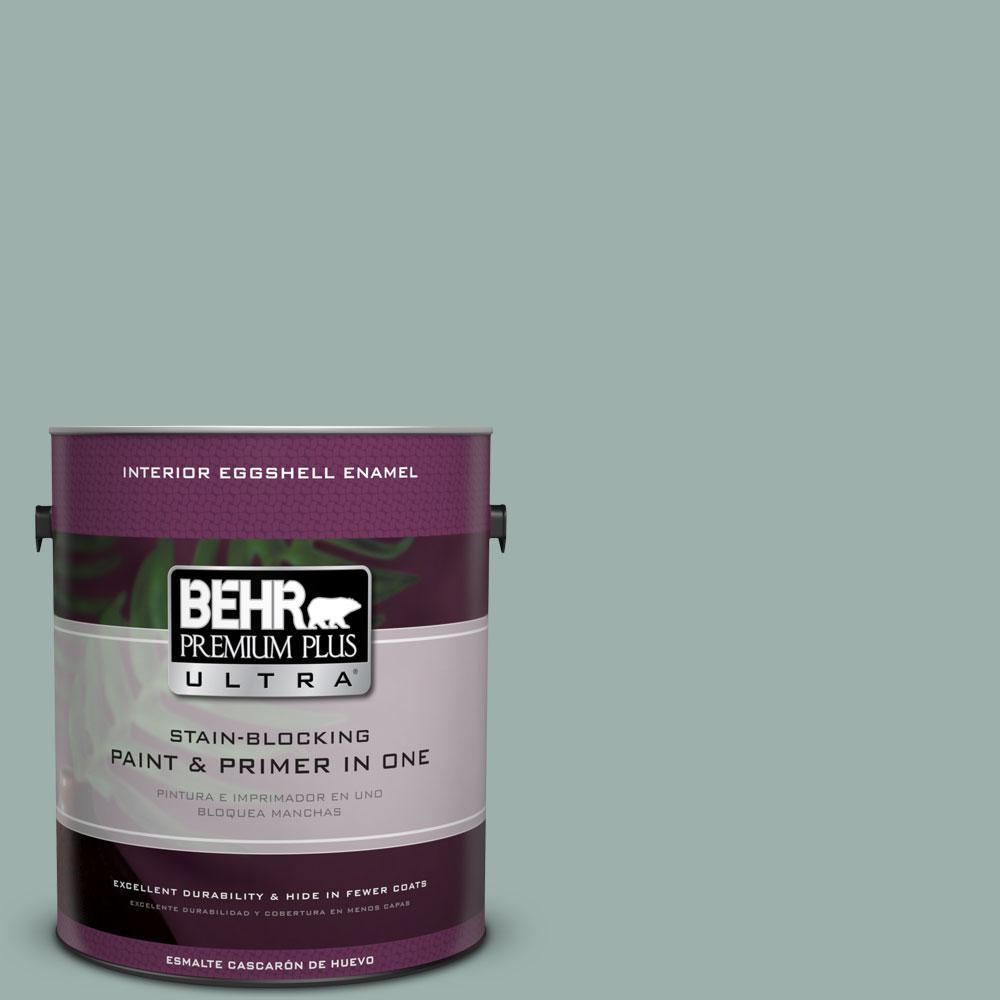 1 gal. #490F-4 Gray Morning Eggshell Enamel Interior Paint and Primer