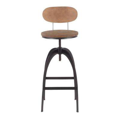 Dakota Mid-Back Adjustable Bar Stool in Black Metal and Brown Wood