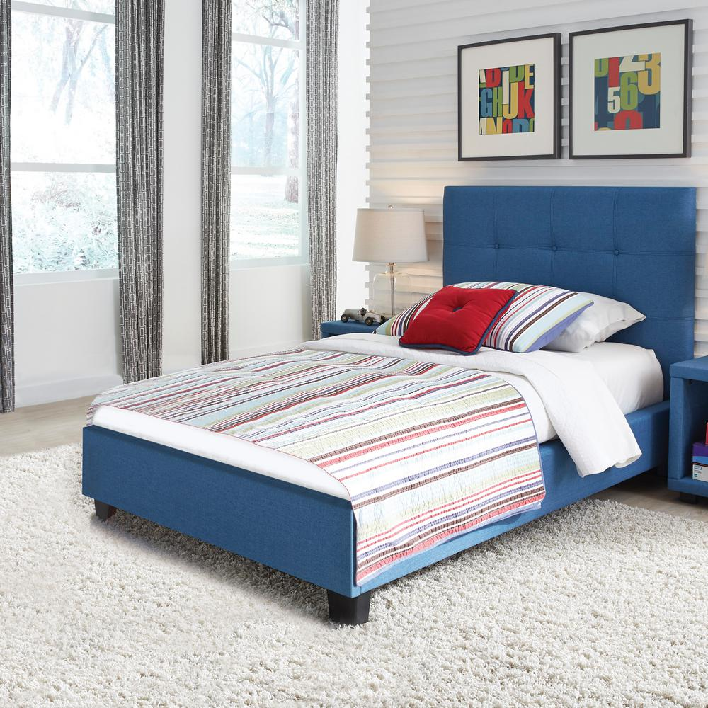 Kids Complete Upholstered Bed Button Tufted Headboard Denim Blue Finish Twin 940 Photo