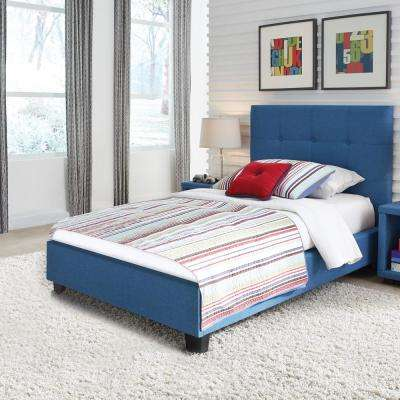 Henley Kids Complete Upholstered Bed With Button Tufted Headboard, Denim  Blue Finish, Twin