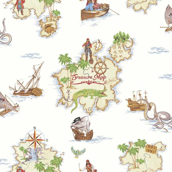 Pirates Ahoy Multi Paper Strippable Wallpaper (Covers 57.26 sq. ft.)