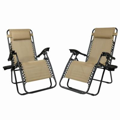 Zero Gravity Khaki Lawn Chairs with Pillow and Cup Holder (2-Set)