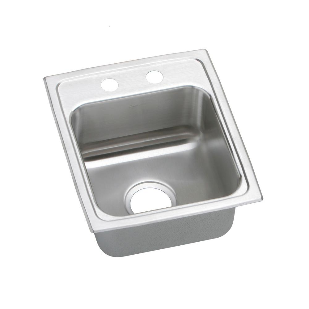Elkay Lustertone Drop-In Stainless Steel 15 in. 1-Hole Single Bowl ADA  Compliant Kitchen Sink with 6.5 in. Bowl
