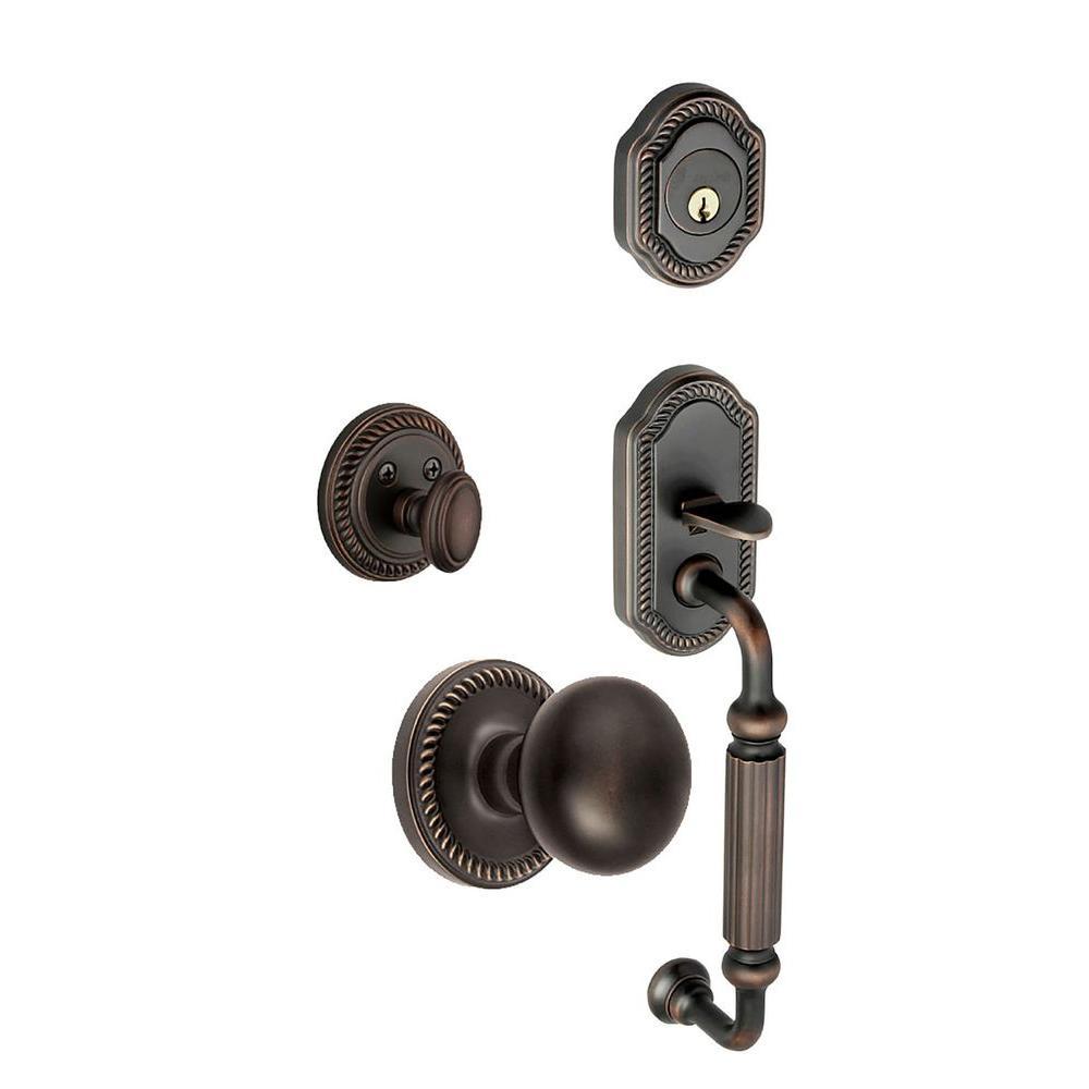 Grandeur Newport Single Cylinder Timeless Bronze F-Grip Handleset with Fifth Avenue Knob