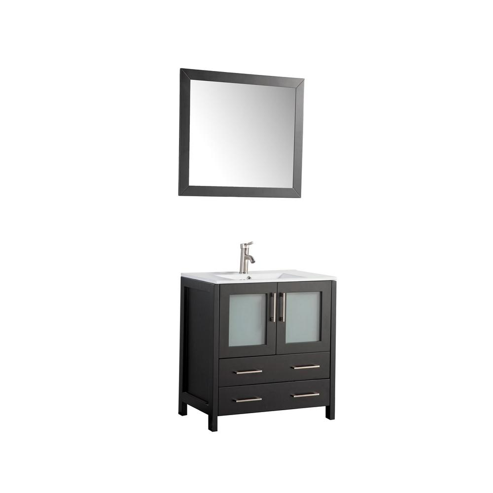 Vanity Art Brescia 30 in. W x 18 in. D x 36 in. H Bath Vanity In Espresso with Vanity Top in White with White Basin and Mirror