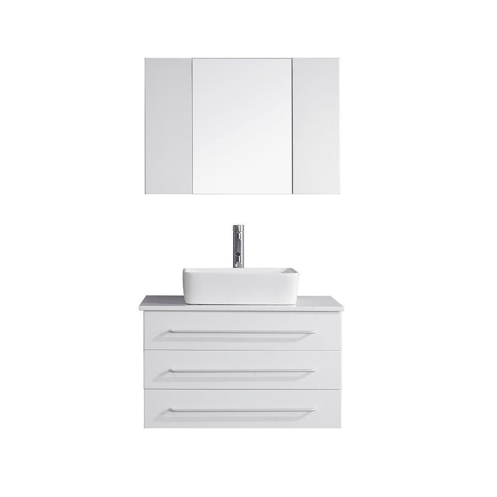 Single Basin Vanity In White With Stone Vanity Top In