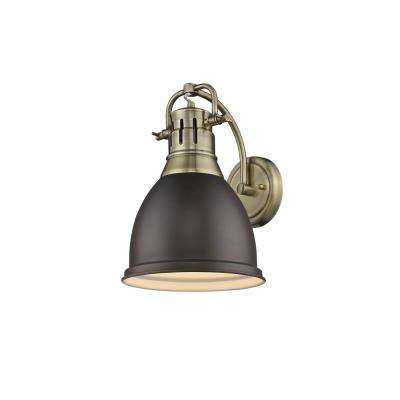 Duncan AB 1-Light Aged Brass Sconce with Rubbed Bronze Shade
