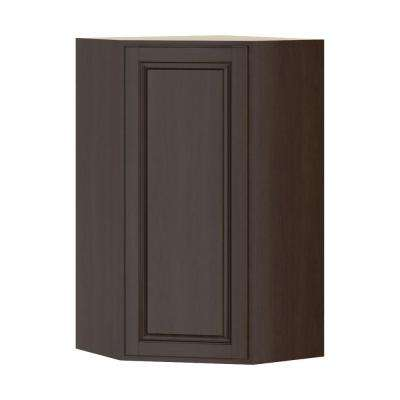 Madison Assembled 24x42x24 in. Corner Wall Cabinet in Espresso