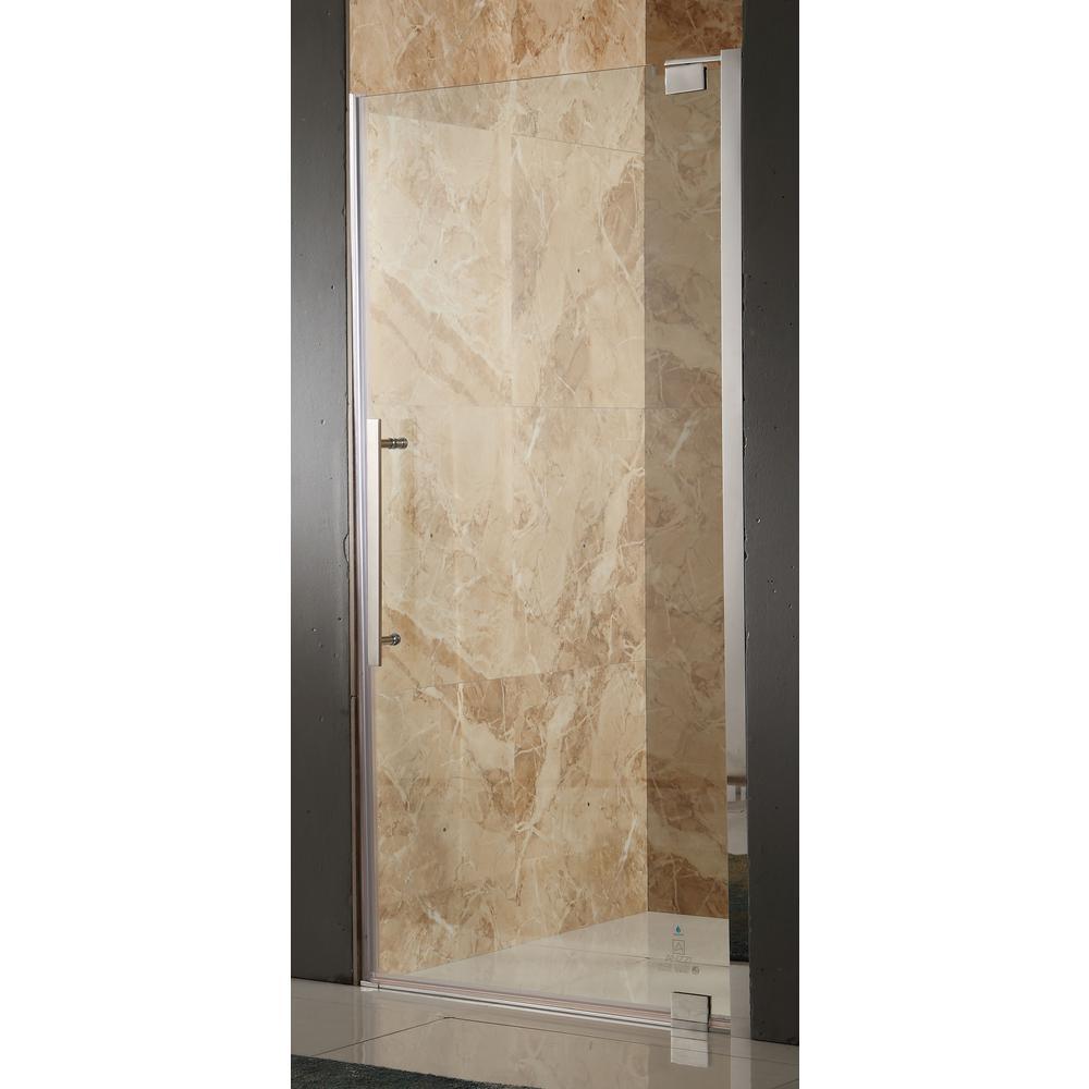 Bishop 36 in. x 72 in. Semi-Frameless Pivot Shower Door in Brushed Nickel with Handle