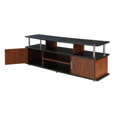 59 in. Black and Cherry Wood Particle Board TV Stand 60 in. with Doors