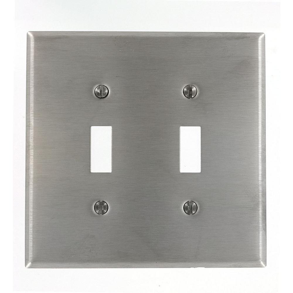 2-Gang Midway Size Stainless Steel Wall Plate, 2 Toggles, Stainless Steel