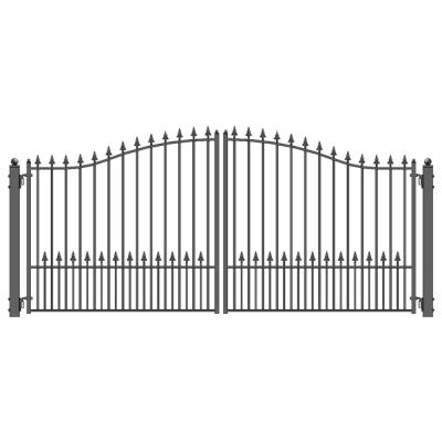 Munich Style 14 ft. x 6 ft. Black Steel Dual Driveway Fence Gate