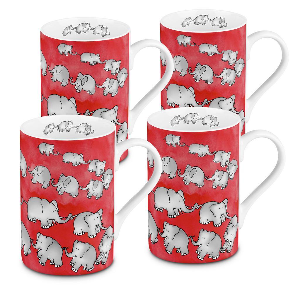 Konitz 4-Piece Chain of Elephants Red Porcelain Mug Set