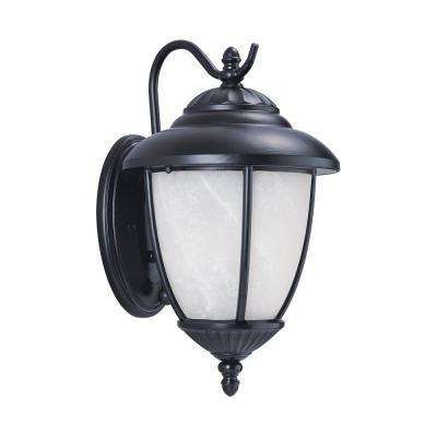 Yorktown 1-Light Black Outdoor 16.25 in. Wall Lantern Sconce with LED Bulb