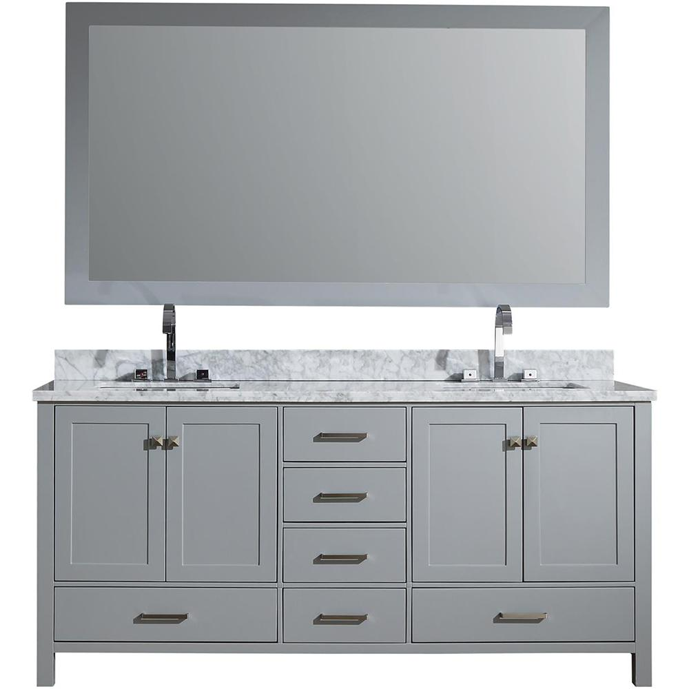 Attirant Vanity In Grey With Carrara Marble Vanity Top In White With