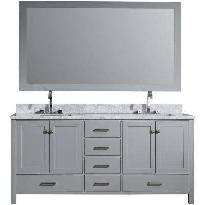 Cambridge 73 in. Vanity in Grey with Carrara Marble Vanity Top in White with White Basin and Mirror