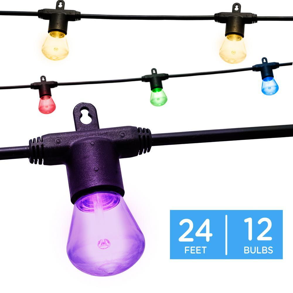 Outdoor 24 ft. Color Changing LED Bistro String Lights