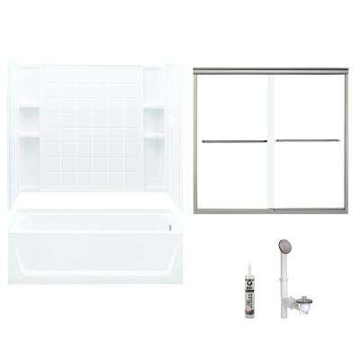 Ensemble 32 in. x 60 in. x 72 in. Bath and Shower Kit with Right-Hand Drain in White and Brushed Nickel