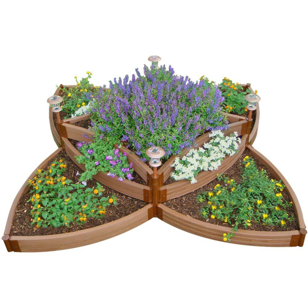 Frame It All One Inch Series 8 ft. x 8 ft. x 16.5 in. Composite Versailles Sunburst Raised Garden Bed Kit