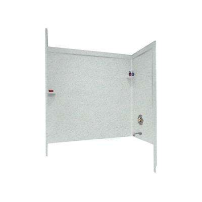 33-1/2 in. x 60 in. x 60 in. 3-Piece Easy Up Adhesive Alcove Surround in Tahiti Gray