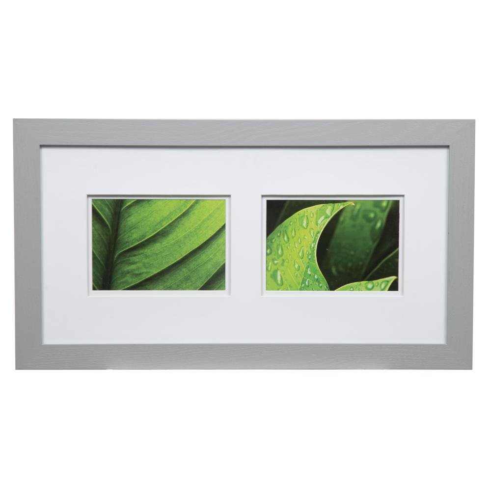 Pinnacle Gallery 5 in. x 7 in. Gray Double Mat Picture Frame ...