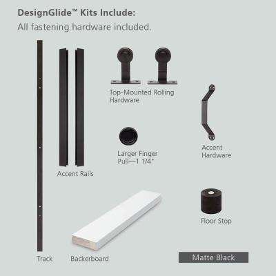 84 in. DesignGlide Matte Black Soft-Close Barn Door Sliding Door Hardware Kit