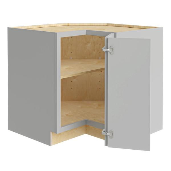 Home Decorators Collection Washgton Medium Veiled Gray Thermofoil Plywood Shaker Stock Semi Custom Base Kitchen Cabinet 36 In W X 24 In D Ezr36r Wvg The Home Depot