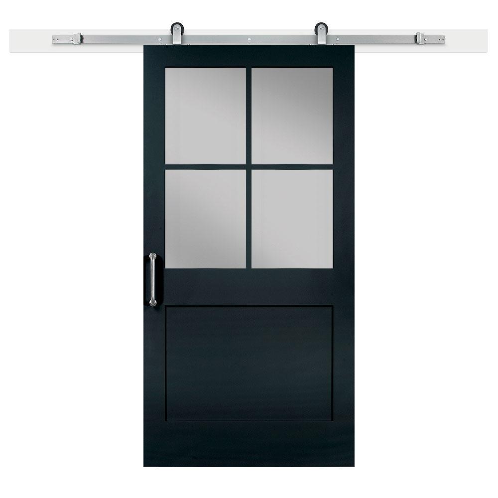 42 in. x 84 in. Knight 1-Panel Privacy Half-Lite Satin Solid-Core MDF Barn Door with Sliding Door Hardware Kit