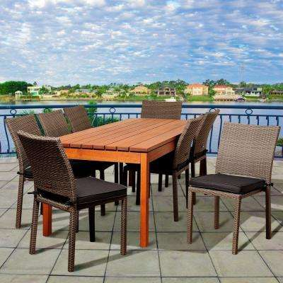 Rodgers 9-Piece Eucalyptus Rectangular Patio Dining Set with Grey Cushions